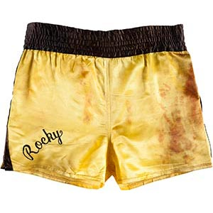 "Rocky's boxing trunks from the first match against Clubber Lang  (Mr. T) in 1982's ""Rocky III."""