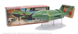 "Century 21 Toys ""Thunderbirds"" - Thunderbird 2 green, red and chrome thrusters comes complete with Land Rover in pod, Mint Sold for £300 at Vectis, Oct 2014."