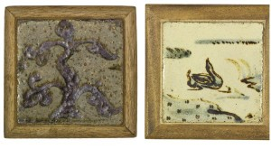 bernard leach Two stoneware tiles