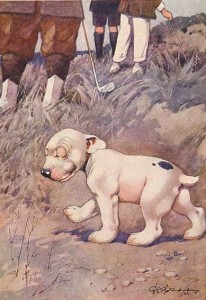 bonzo dog lost ball postcard