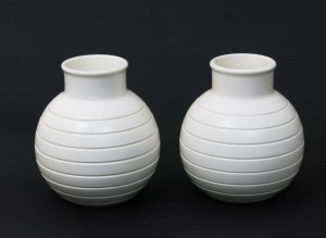 A pair of Keith Murray Wedgwood Moonstone earthenware vases
