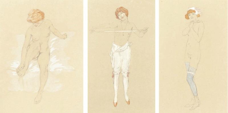 Raphael Kirchner pencil watercolour
