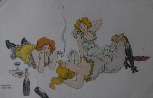 Raphael Kirchner postcard smoking girls
