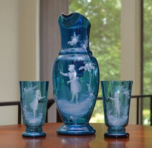 mary gregory cobalt blue pitcher