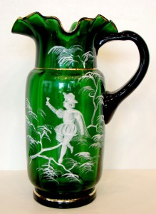 mary gregory glass emerald pitcher