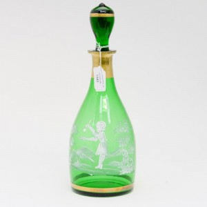A Mary Gregory green decanter. Sold for £45 at Hansons Auctioneers December 2016.
