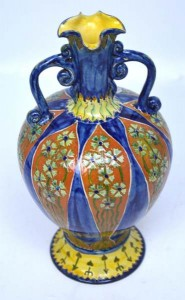 A Della Robbia twin handle baluster vase by George Seddon and Liz Wilkins