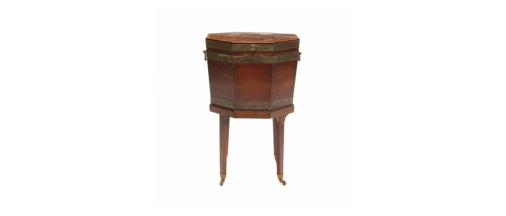 A George III inlaid mahogany cellarette on stand