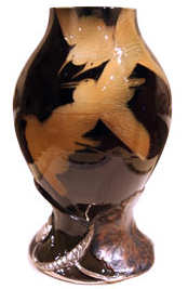 A Kataro Shirayamadani vase which currently holds the highest price for a Rookwood piece at auction selling for $350,750 at auction at the Cincinnati Art Galleries in June 2004