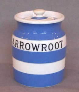 Cornishware lidded jar Arrowroot