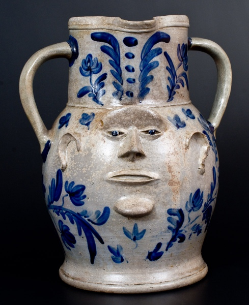 Elisha B Hyssong Stoneware Face Vessel
