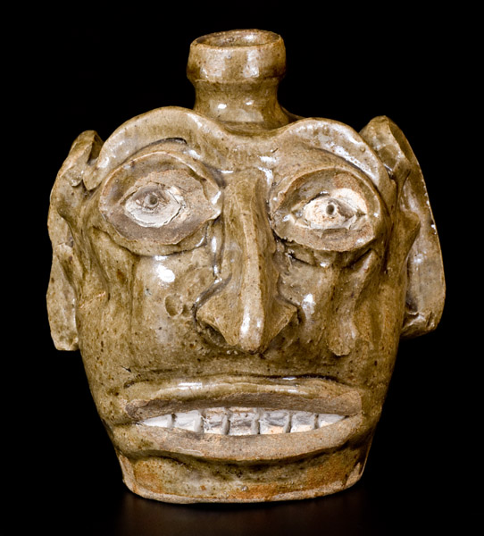 Exceptional Folk Art Face Jug Edgefield SC circa 1845-60