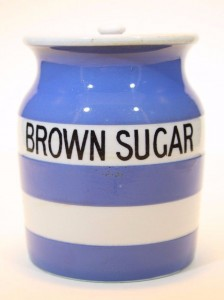 T G Green Cornishware Brown Sugar jarSold for £78 on ebay, Jan 2017