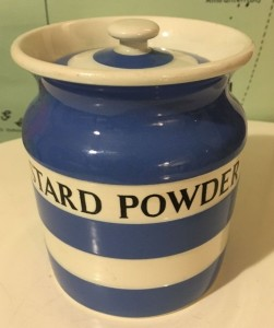 T G Green Cornishware Custard Powder jarSold for £145 on ebay, Feb 2017