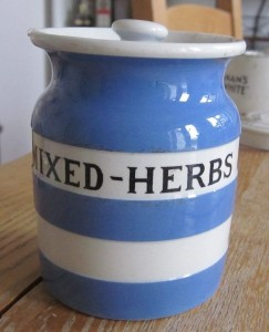 T G Green Cornishware Mixed Herbs jarSold for £77 on ebay, Feb 2017