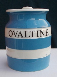 T G Green Cornishware Ovaltine jarSold for £550 on ebay, Feb 2017