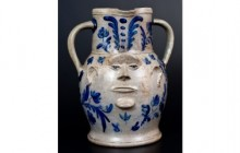 Elisha B. Hyssong Face Vessel Crocker's Highlights American Stoneware & Redware Auction
