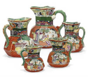 Eight Mason's Ironstone Jugs Circa 1825-35