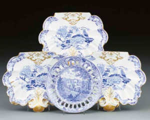 A William Mason blue and white dessert-plate and three Mason's Ironstone dishes Circa 1820