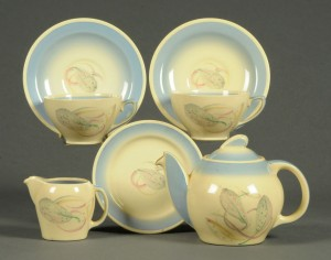 A Susie Cooper Tea-for-Two tea set leaf pattern and marked A Susie Cooper Production, Crown Works, Burslem, England Sold for £65 at Mitchells Auctions Dec 2016