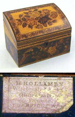 A Tunbridge Ware maple stationery box by Henry Hollamby