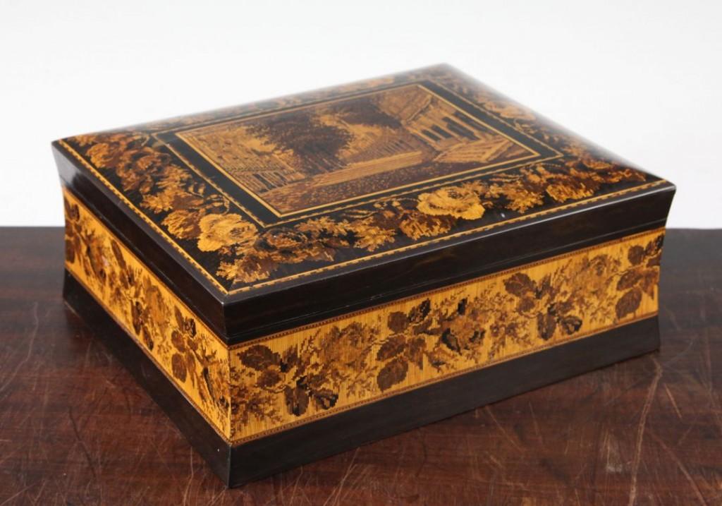 A Tunbridge ware coromandel Pantiles mosaic box attributed to Henry Hollamby