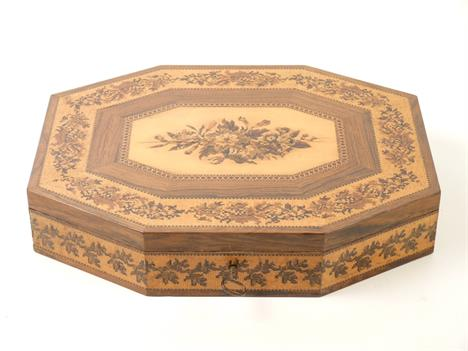 A mosaic Tunbridge ware games box c1840