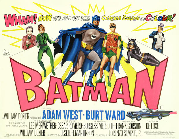 Batman British quad poster designed by Tom William Chantrell