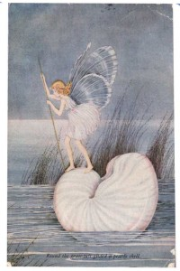 Fairy on Pearly Shell Postcard Ida Rentoul Outhwaite