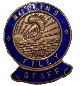 1964 butlins badge filey staff