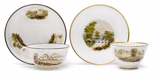Two rare Swansea cups and saucers circa 1815-17