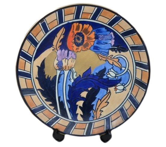 charlotte rhead plaque charger stylized open poppy flowers in red and blue