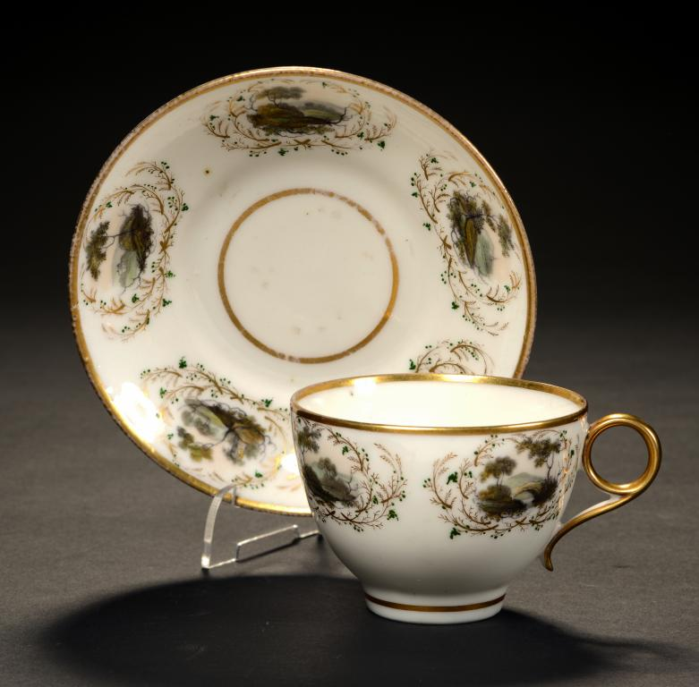 swansea teacup and saucer painted by william billingsley