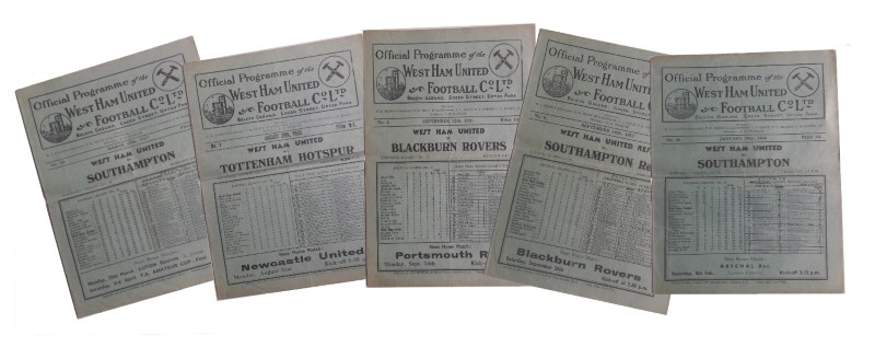 1930s west ham united football progarmmes