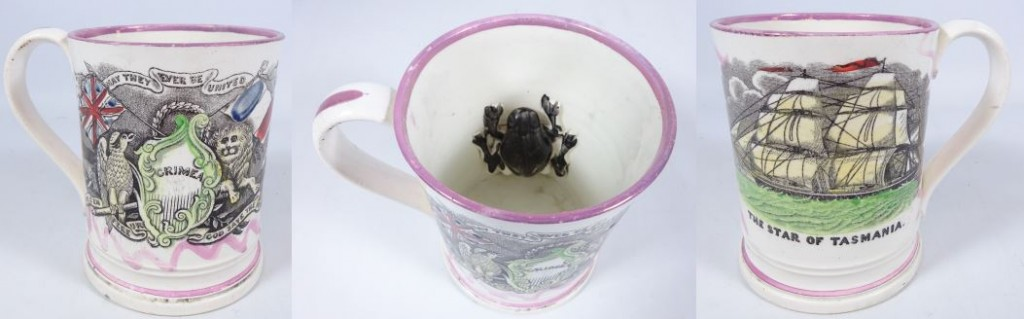 19TH CENTURY SUNDERLAND FROG MUG COMMEMORATING THE CRIMEA