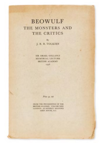 Tolkien J R R Beowulf The Monsters And The Critics First Edition
