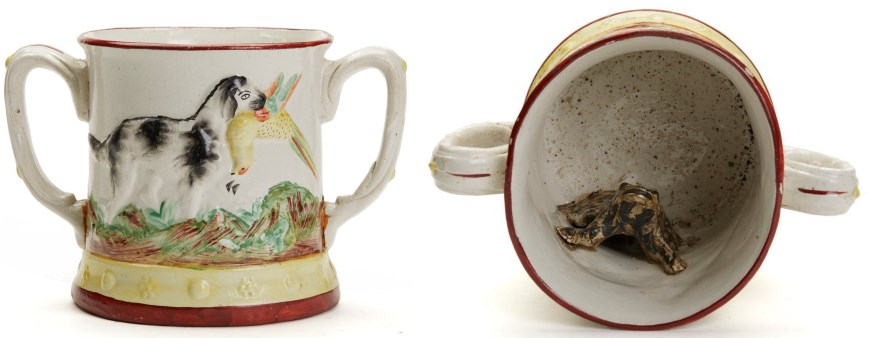 staffordshire twin handle frog cup with dog design