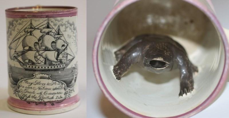 sunderland frog mug with three mast boat design