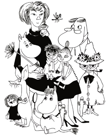 Tove Jansson with Moomins cartoon