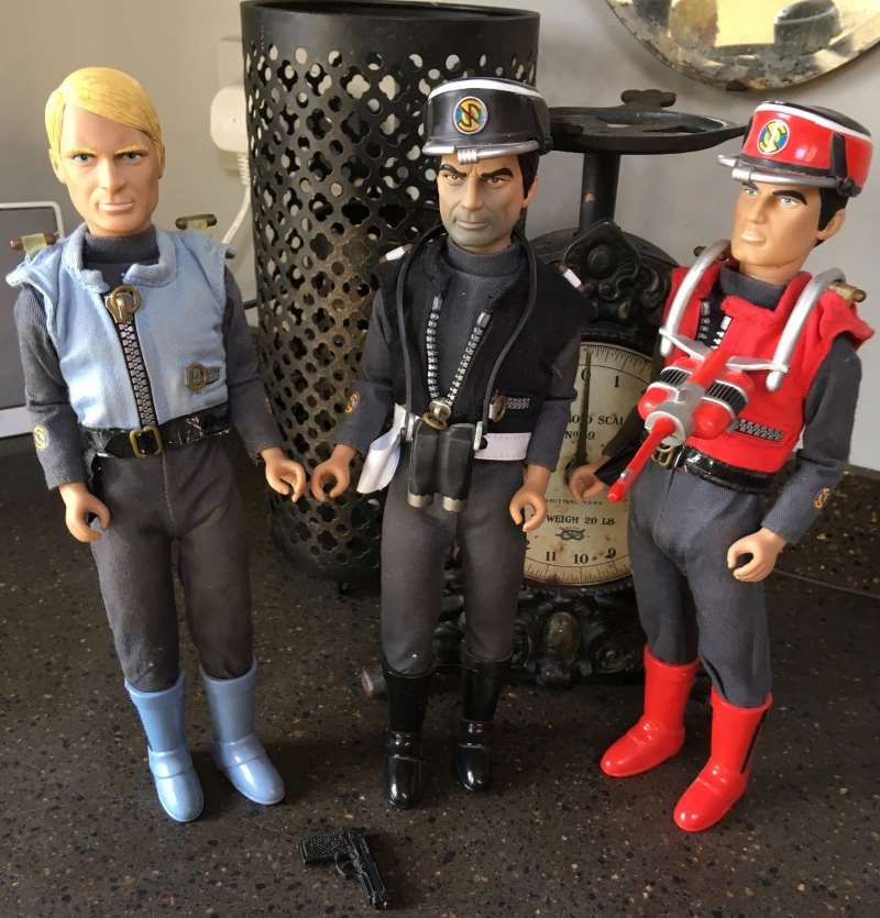 Vintage Gerry Anderson Captain Scarlet Captain Black and Captain Blue talking action figures
