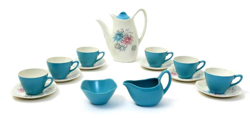 A Midwinter Quite Contrary Fashion coffee set for six designed by Jessie Tait