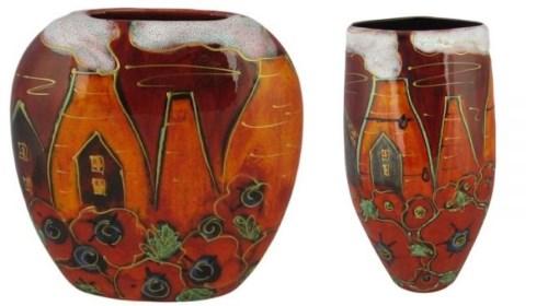 Anita Harris Lest We Forget Poppies vases