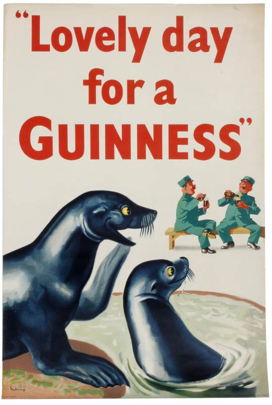 Lovely Day for a Guinness with seals and zoo keepers poster john gilroy