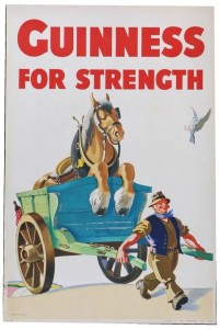 guinness for strength poster john gilroy man holding cart