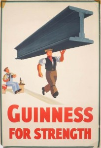 guinness for strength poster john gilroy man holding girder