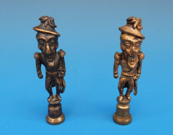 Two early 19th C brass caricature tobacco tampers stoppers in the form of The Duke of Wellington Old Nosey