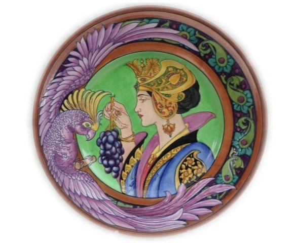 charlotte rhead plaque charger lady with parrot