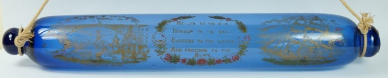 19th Century Anti Slavery Glass Rolling Pin Bristol Blue Glass Circa 1830s Sunderland Bridge
