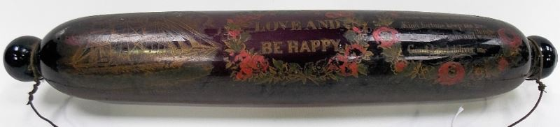 19th Century amethyst glass rolling pin transfer printed with a three-masted ship