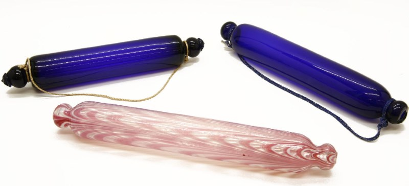 A Thomas Webb blue glass rolling pin and others
